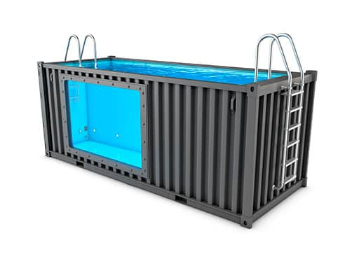 A converted shipping container swimming pool on a white background
