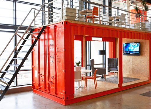 Red shipping container meeting room