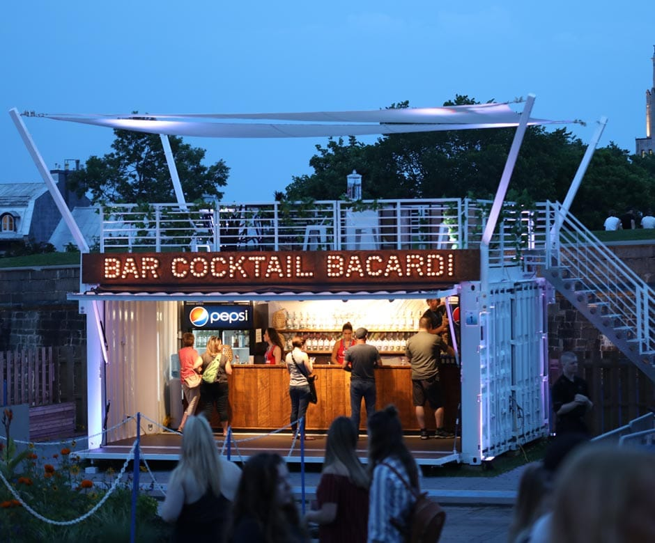 Shipping container cocktail bar