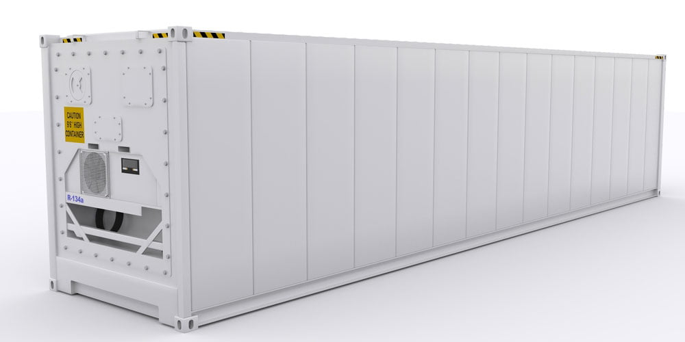 Different types of shipping containers - white ISO reefer shipping container