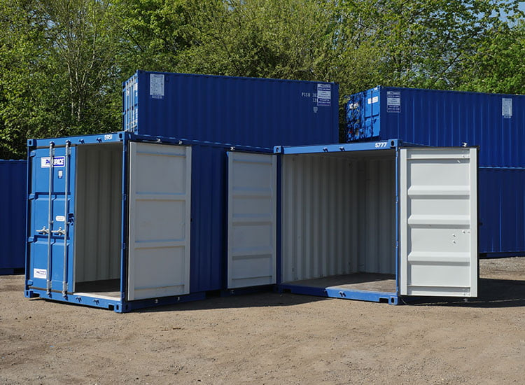 Two shipping containers with doors open - shipping containers can be used in a variety of ways