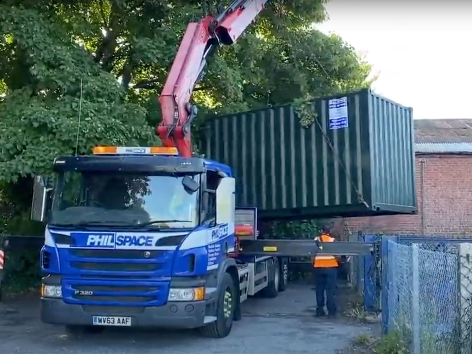 Philspace truck delivering storage unit for Meon Valley Food Bank