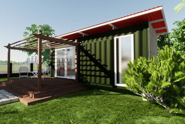 An illustration of a modern one-room structure in a garden built from a shipping container