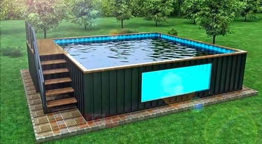 A square shipping container pool conversion built from three 20ft containers