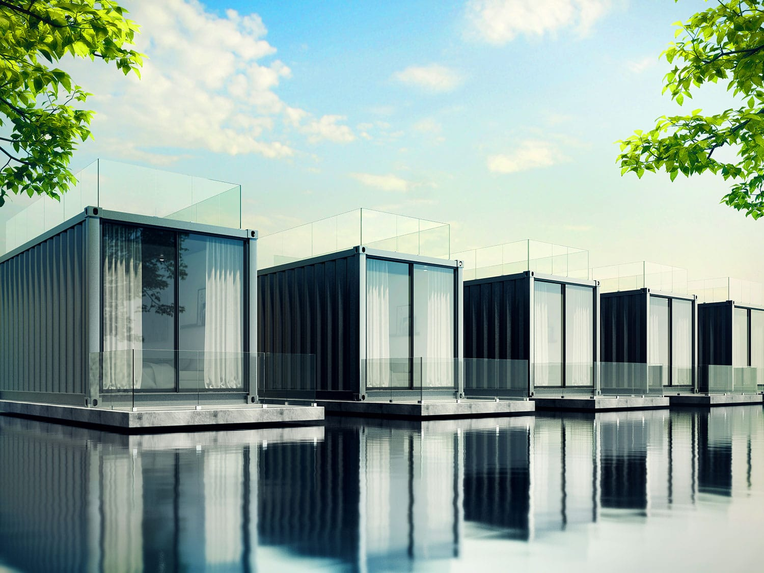 Converted Shipping Containers on water