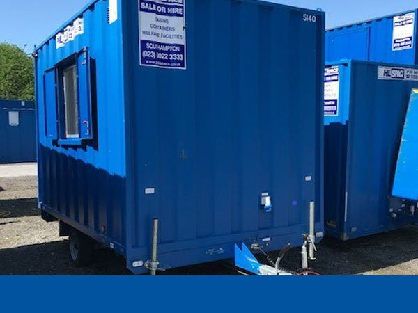 A blue wheeled welfare unit