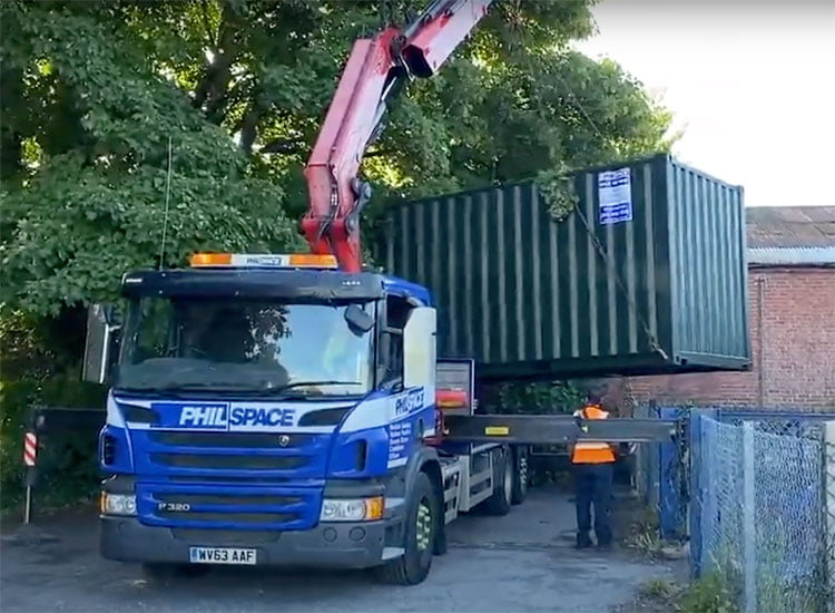 Philspace truck delivering a temporary storage container for Meon Valley Food Bank