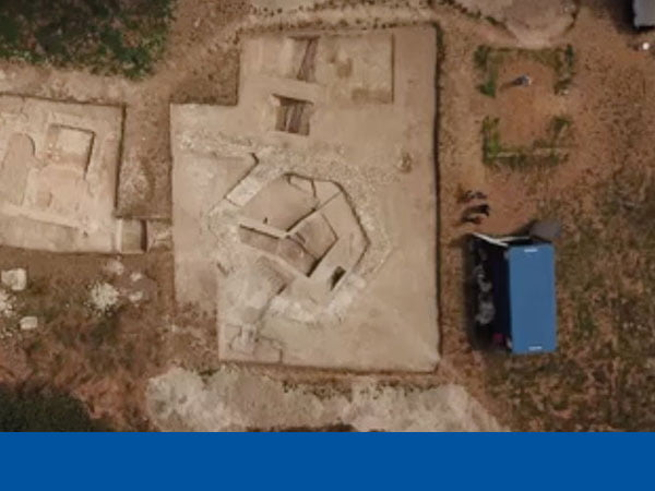 Aerial view of the archaeological site in Meonstoke, with Philspace welfare unit visible