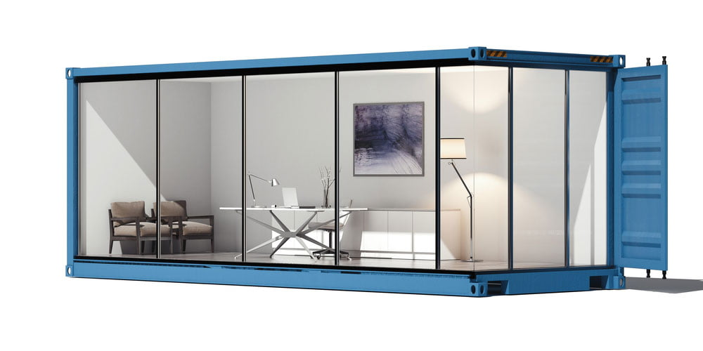 A shipping container converted into an office