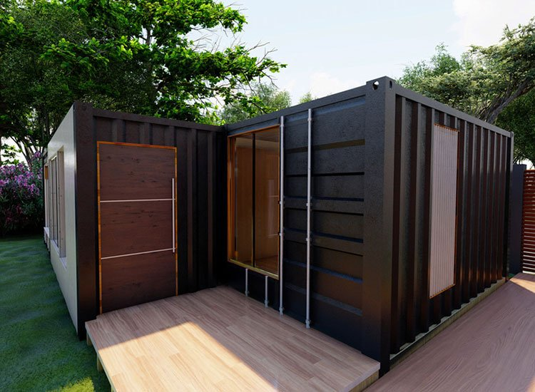 Shipping container used to make a garden room