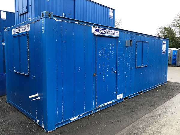 Blue shipping container converted into an open plan mess -used item for sale